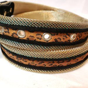 Express Accessories - Express gold metal mesh belt with animal print